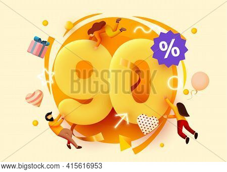Mega Sale. 90 Percent Discount. Special Offer Background With Flying People. Promotion Poster Or Ban