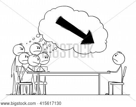 Group Of People Or Colleagues Blaming Individual, Vector Cartoon Stick Figure Illustration