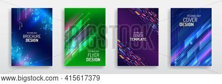 Technology Modern Brochure Templates. Science And Innovation Hi-tech Background. Sci-fi Flyer Design