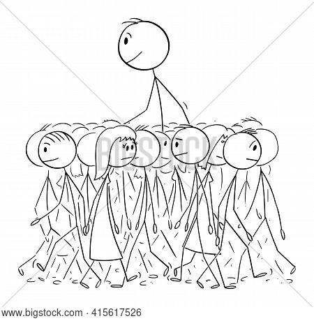 Big Man Walking In Average Crowd, Individuality And Distinctiveness, Vector Cartoon Stick Figure Ill