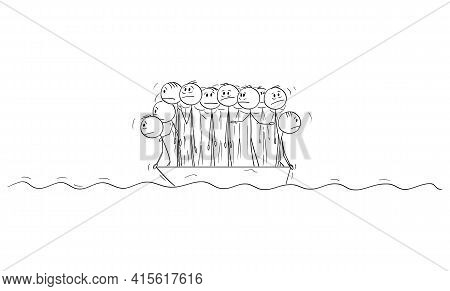 Big Group Of People Or Businessmen Standing Helplessly On Small Lifeboat. Vector Cartoon Stick Figur