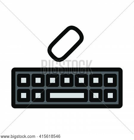 Keyboard Icon. Editable Bold Outline With Color Fill Design. Vector Illustration.