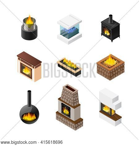 Nine Isolated Fireplace Designs Set Of Different Colour And Shape Of Grate Chimney And Mantelpiece M