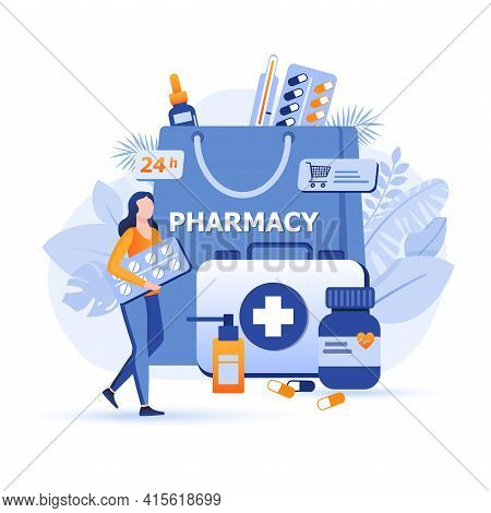 Customer Buys Pills At Online Pharmacy Scene. Healthcare, Doctor Prescription, Medicaments In Drugst