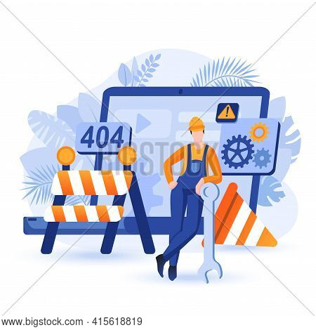 Website Under Construction Scene. Builder Stands With Huge Spanner Among Safety Barriers. Web Page U