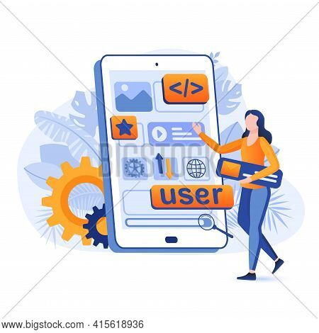 App Development Scene. Developer Working On Project, Creates Of Mobile Applications, Mobile Phone Wi