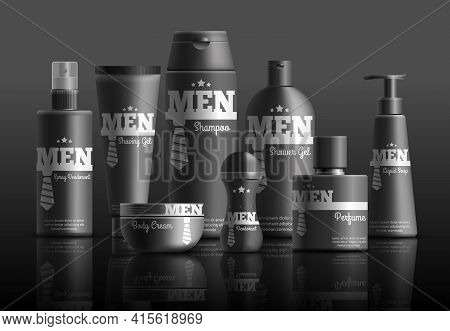 Mens Cosmetic Series In Black Containers With Brand Identity Realistic Composition On Dark Backgroun