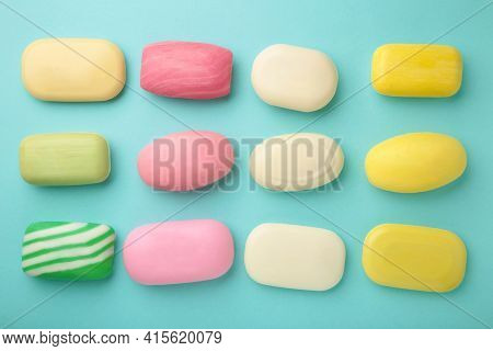 Different Soaps In Different Soap Dishes. A Lot Of Solid Soap For Hygiene And Cleanliness. Colorful