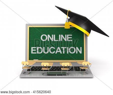 online education on white background. Isolated 3D illustration