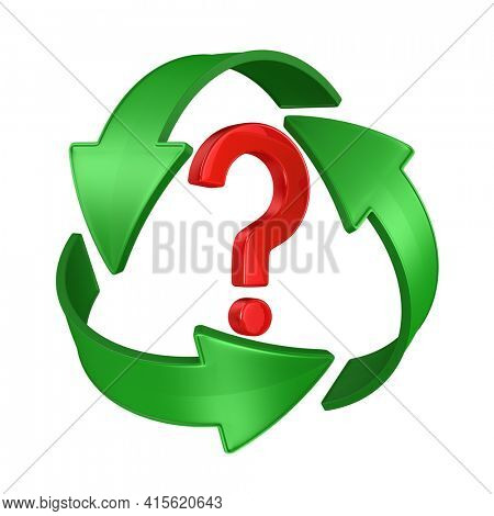 sign recycled and question on white background. Isolated 3D illustration