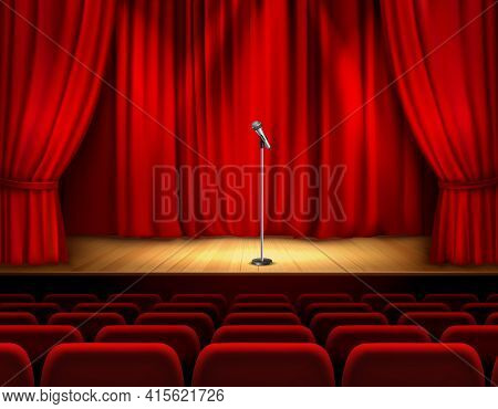 Realistic Theater Stage With Wooden Flooring And Red Curtain Microphone And Seats For Spectators Vec
