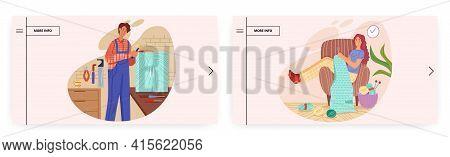 Hobby Landing Page Design, Website Banner Vector Template Set. Happy People Knitting, Making Furnitu