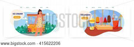 Ice Cream Landing Page Design, Website Banner Vector Template Set. Summer Sweet Frozen Dessert. Icec