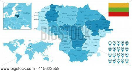 Lithuania Detailed Administrative Blue Map With Country Flag And Location On The World Map. Vector I