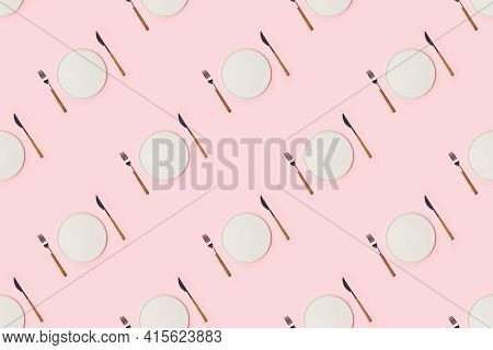 Spring And Mothers Day Table Layout With Plate And Tableware On Pink Background, Seamless Pattern, F