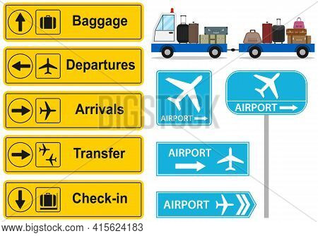 Airport Sign. Airport Direction Sign. Vector, Cartoon Illustration. Vector.
