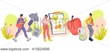 Healthy Diet And Weight Loss Banner With Female Characters, Flat Vector Illustration Isolated On Whi