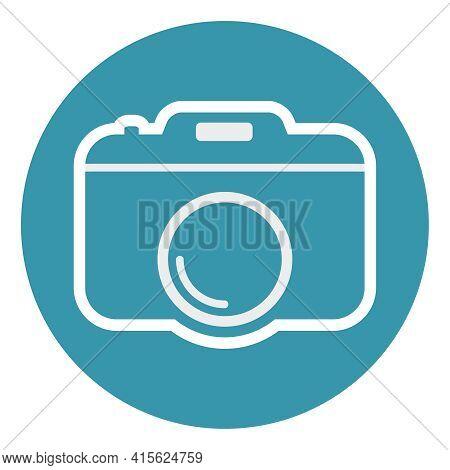 Camera Icon. Blue-white Camera Icon. Vector, Cartoon Illustration. Vector.