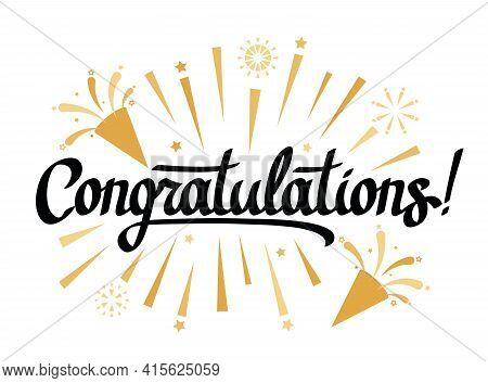 Beautiful Handwritten Greeting Lettering Congratulations On Decoration, Fireworks. Vector Illustrati