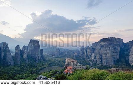 Panorama Of Rocks And Monasteries Of Meteora, Greece