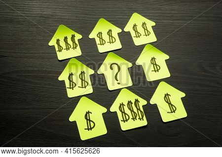 How Much My Property Worth. Paper Homes With Dollar Signs As Price.