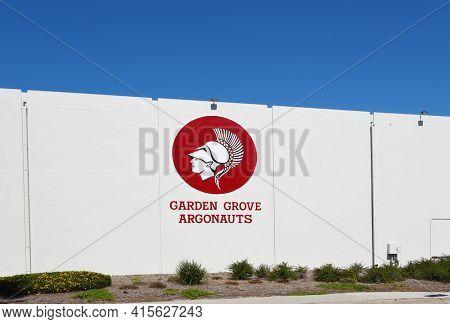 GARDEN GROVE, CALIFORNIA - 31 MAR 2021: Argonauts logo at Garden Grove High School, the first high school in the city.