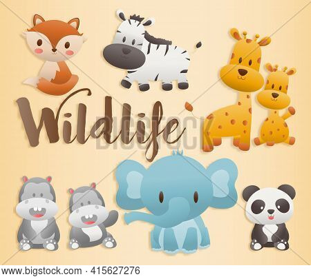 Big Set Isolated Animals. Character Design Cute Woodland Animal. Paper Cut And Papercraft-style Vect