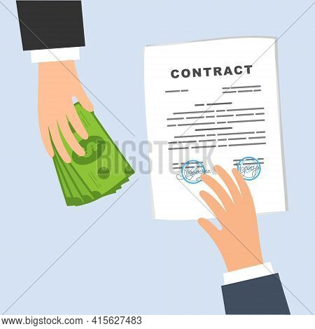 Conclusion Of A Contract. Business Deal, Exchange Of Money For A Document