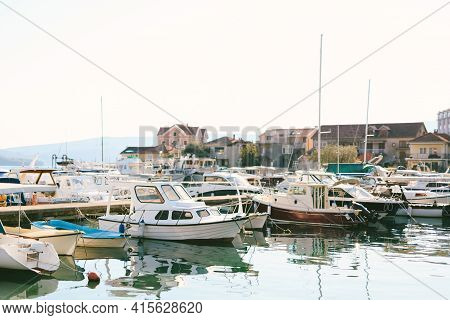 Boat Pier With Boats And Yachts In Tivat, Montenegro.
