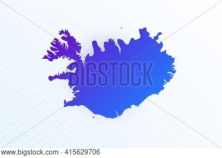Map Icon Of Iceland. Colorful Gradient Map On Light Background. Modern Digital Graphic Design. Light
