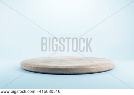 Empty Wooden Stand For A Mobile Phone On A Bright Background, Advertising And Promotion Concept, 3d