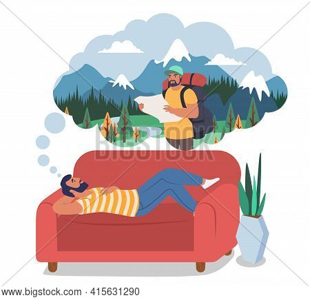 Man Dreaming About Travel, Hiking, Trekking Lying On Sofa, Flat Vector Illustration. Summer Vacation