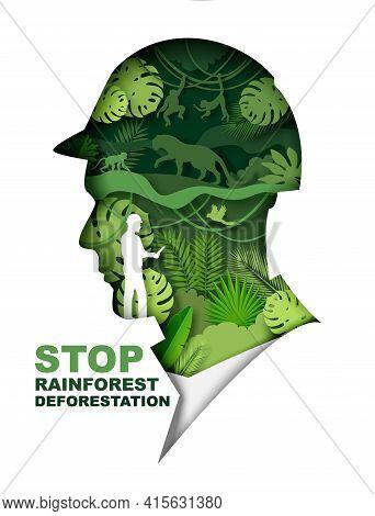 Stop Rainforest Deforestation Poster, Banner Template. Vector Paper Cut Green Jungle Plants, Animals