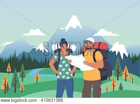 Happy Tourist Couple With Backpacks Looking At Map, Flat Vector Illustration. Summer Tourism, Hiking