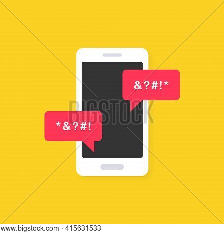 Cyber Bullying Icon On Yellow Background. Cyberbullying Victim. Abuse, Internet Hate, Swear And Insu