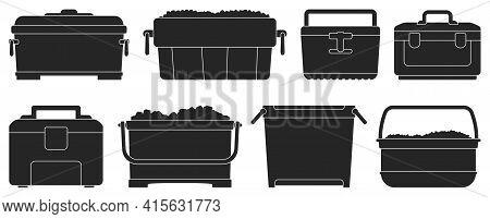 Box For Ice Vector Illustration On White Background. Isolated Black Set Icon Icebox. Vector Black Se
