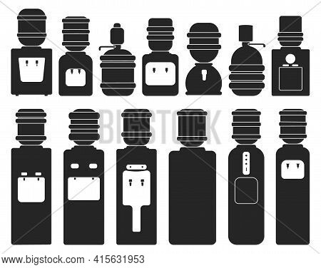 Water Cooler Vector Black Set Icon. Vector Illustration Bottle On White Background. Isolated Black S