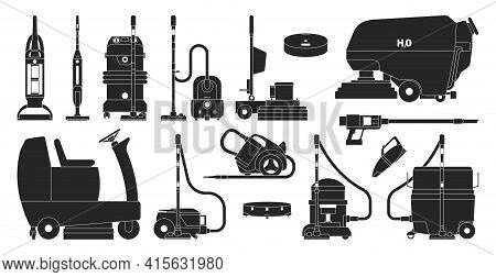 Vacuum Cleaners Black Set Icon. Vector Illustration Cleaning Hoover On White Background. Vector Blac