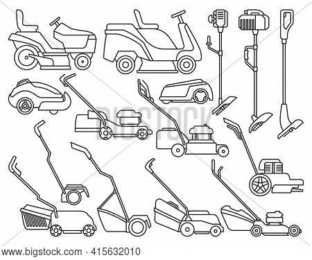 Lawn Mower Vector Illustration On White Background. Isolated Outline Set Icon Lawnmower. Vector Outl