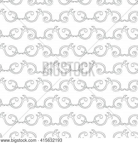 Vector Interlinked Decorative Swirls Seamless Pattern Background. Horizontal Rows Of Ornate Curled S