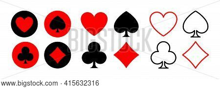 Card Suit Symbols Isolated On White Background. Red Hearts And Diamonds, Black Spades And Clubs. Vec