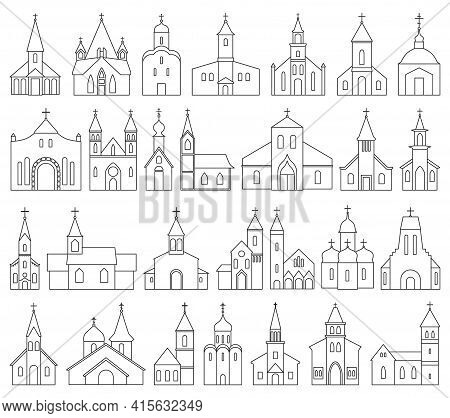 Church Vector Outline Set Icon. Vector Illustration Religion Building On White Background. Isolated