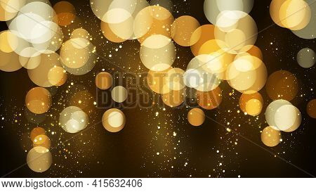 Luxury Bokeh Background With Golden Glitter Particles. Falling Gold Confetti With Magic Light. Beaut