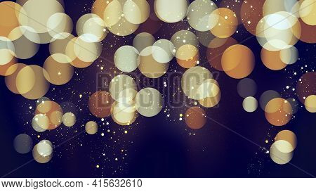 Blue Bokeh Background With Golden Glitter Particles. Gold Confetti. Luxury Beautiful Festive Shining