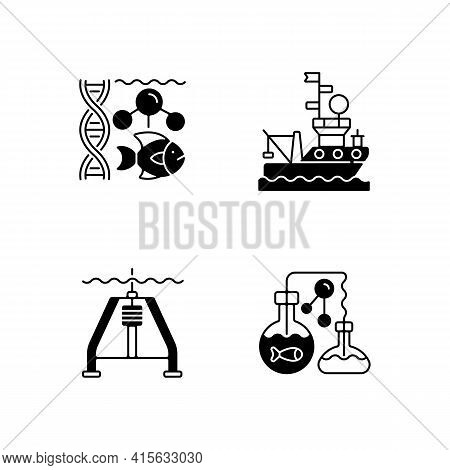Marine Exploration Black Linear Icons Set. Marine Chemistry Tools And Equipment. Hydraulically Dampe