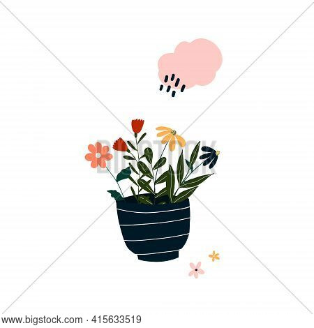 Cute Hand Drawn Tiny Blooming Potted Flower. Cozy Hygge Scandinavian Style Template For Postcard, Po