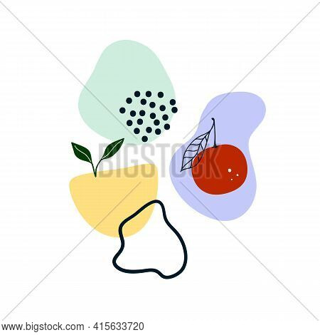 Cute Hand Drawn Abstract Shapes, Fruit, Green Leaves. Cozy Hygge Scandinavian Style Template For Pos