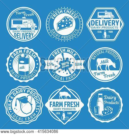 Milk Monochrome Emblems Set With Cow Packaging Delivery Of Dairy Products On Blue Background Isolate