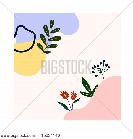 Cute Hand Drawn Abstract Shapes, Flowers, Green Leaves. Cozy Hygge Scandinavian Style Template For P