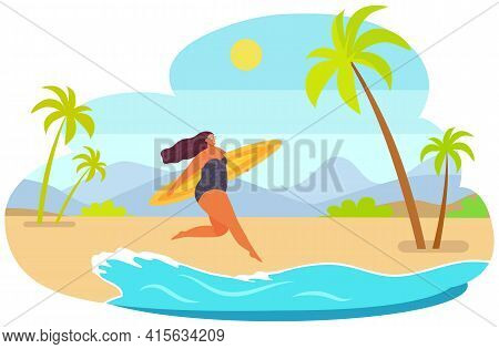 Plump Girl Running With Surfboard. Person In Swimsuit Resting At Ocean Resort Vector Illustration